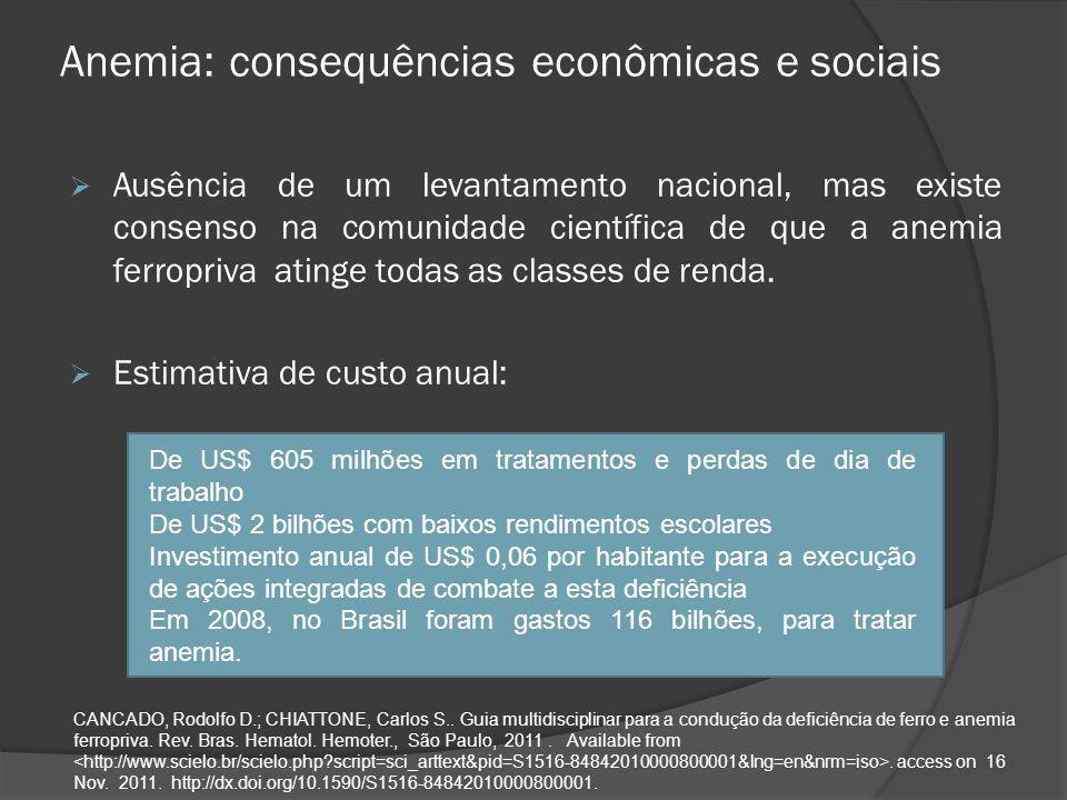 Anemia: consequências econômicas e sociais