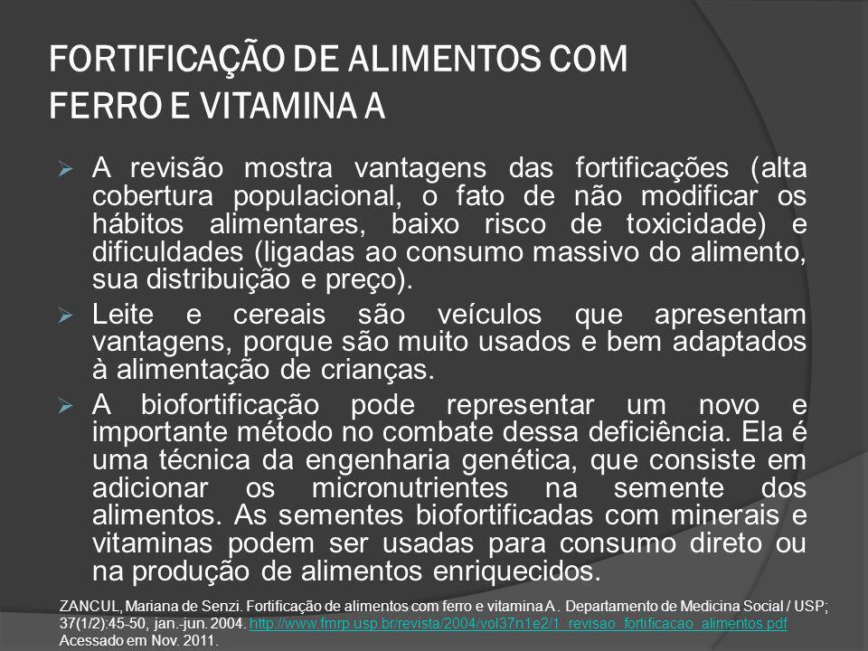 FORTIFICAÇÃO DE ALIMENTOS COM FERRO E VITAMINA A