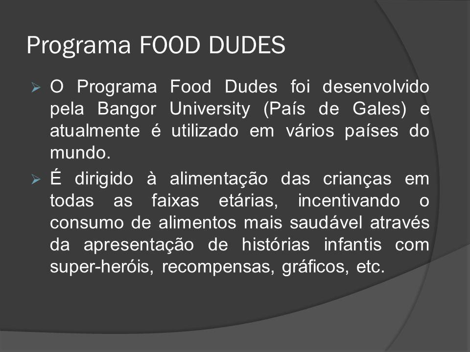 Programa FOOD DUDES O Programa Food Dudes foi desenvolvido pela Bangor University (País de Gales) e atualmente é utilizado em vários países do mundo.