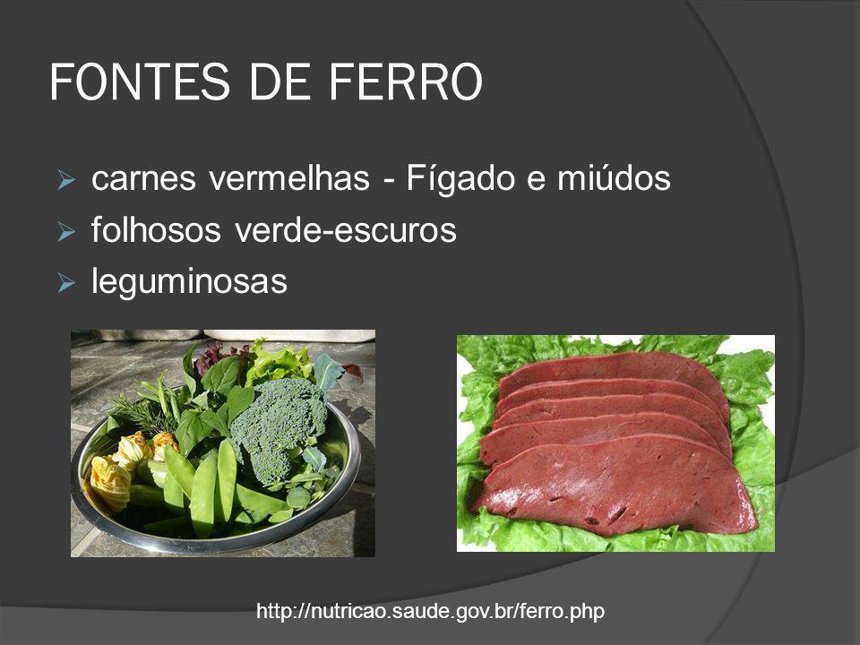 FONTES DE FERRO carnes vermelhas - Fígado e miúdos