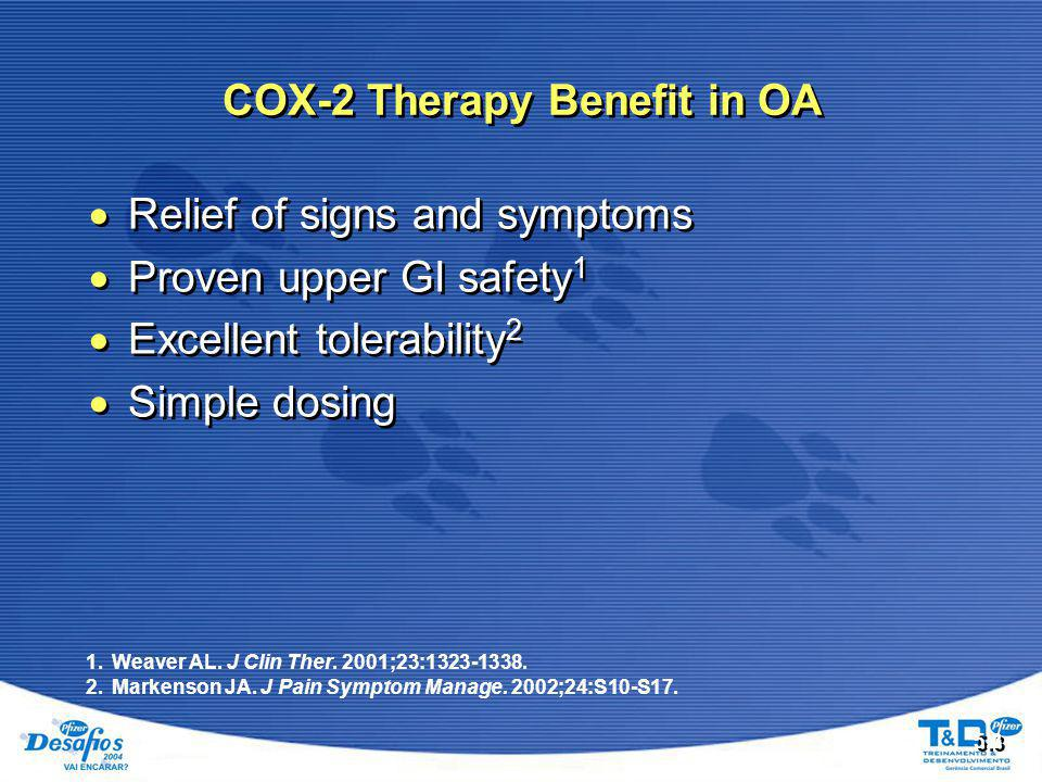 COX-2 Therapy Benefit in OA