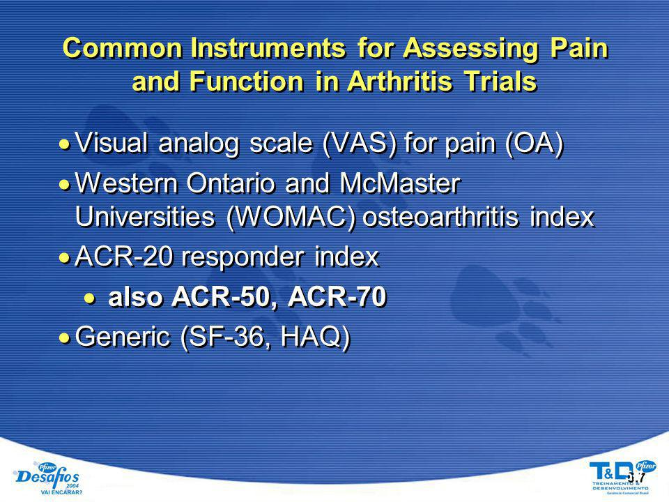 Common Instruments for Assessing Pain and Function in Arthritis Trials