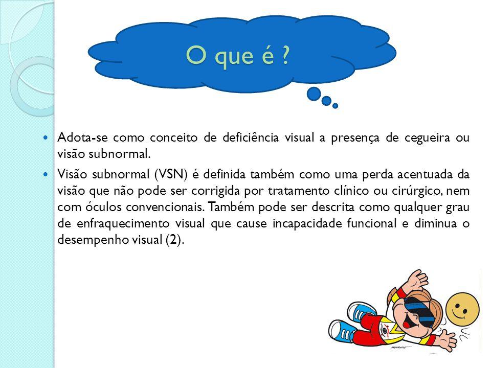 O que é Adota-se como conceito de deficiência visual a presença de cegueira ou visão subnormal.