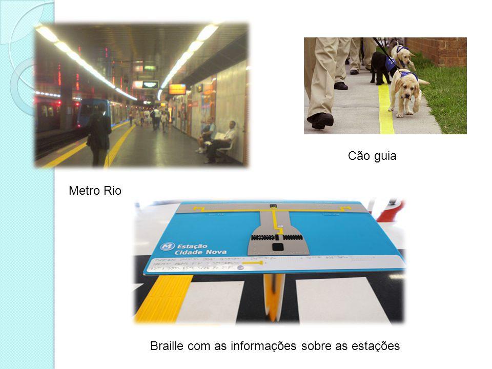 Cão guia Metro Rio Braille com as informações sobre as estações