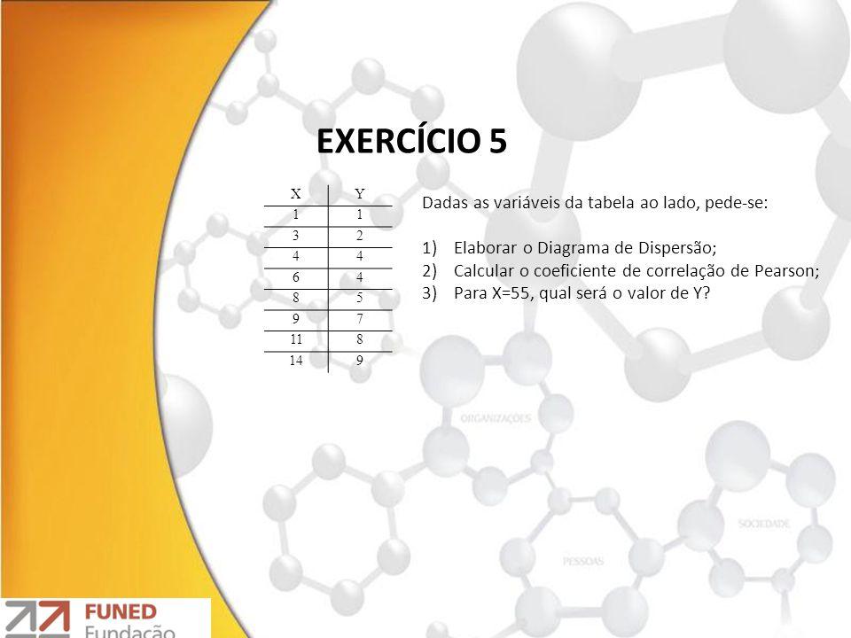 EXERCÍCIO 5 Dadas as variáveis da tabela ao lado, pede-se: