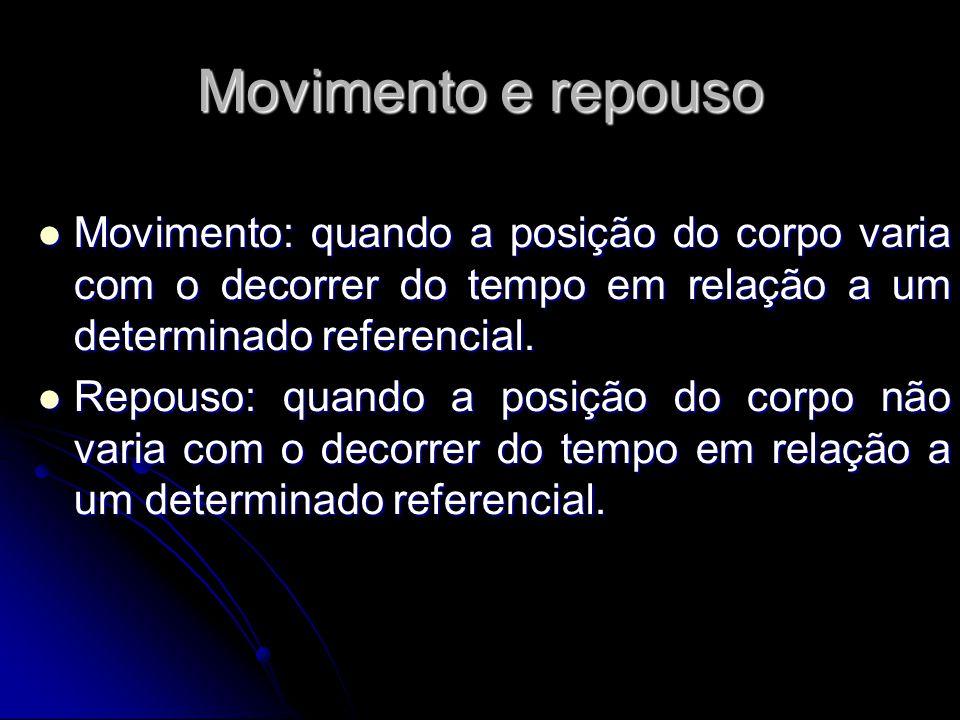 Movimento e repouso Movimento: quando a posição do corpo varia com o decorrer do tempo em relação a um determinado referencial.
