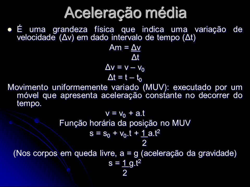 Aceleração média É uma grandeza física que indica uma variação de velocidade (Δv) em dado intervalo de tempo (Δt)