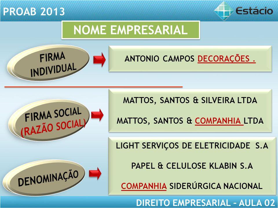 NOME EMPRESARIAL FIRMA INDIVIDUAL FIRMA SOCIAL (RAZÃO SOCIAL)