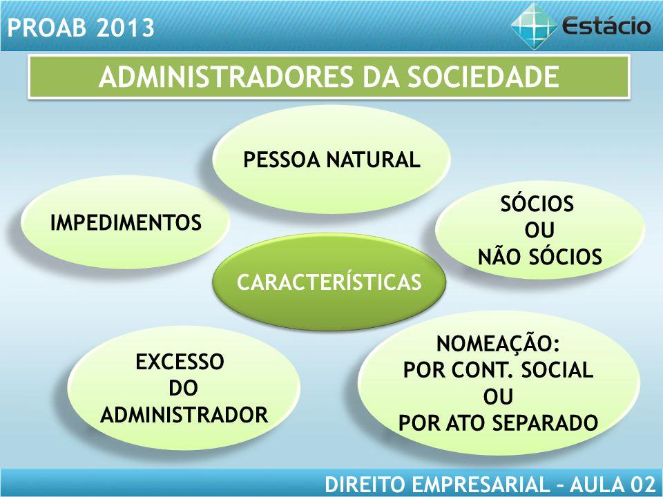 ADMINISTRADORES DA SOCIEDADE
