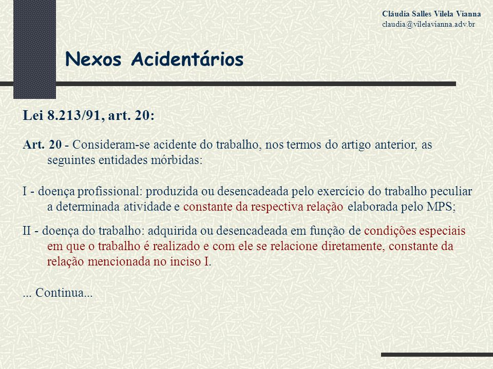 Nexos Acidentários Lei 8.213/91, art. 20: