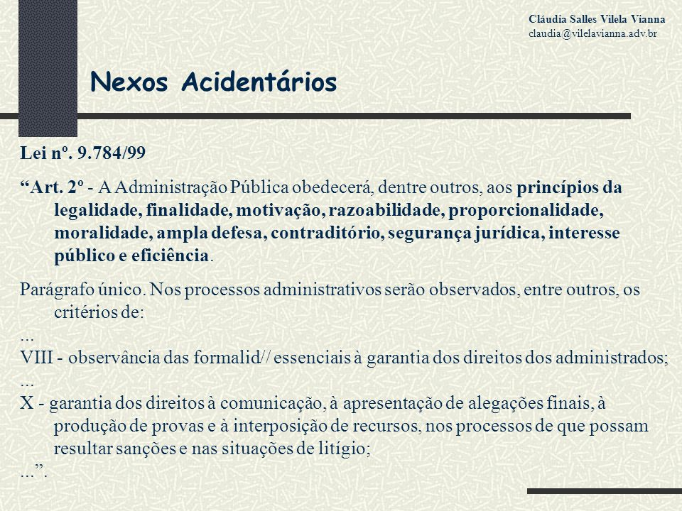Nexos Acidentários Lei nº. 9.784/99