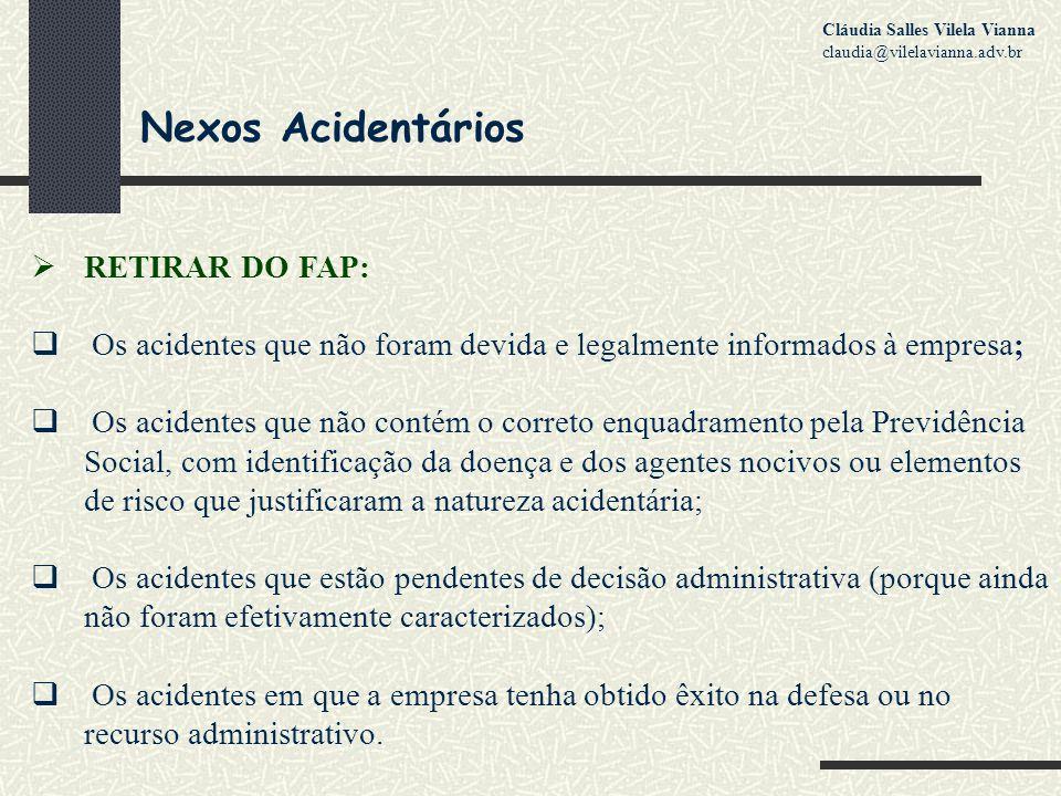 Nexos Acidentários RETIRAR DO FAP: