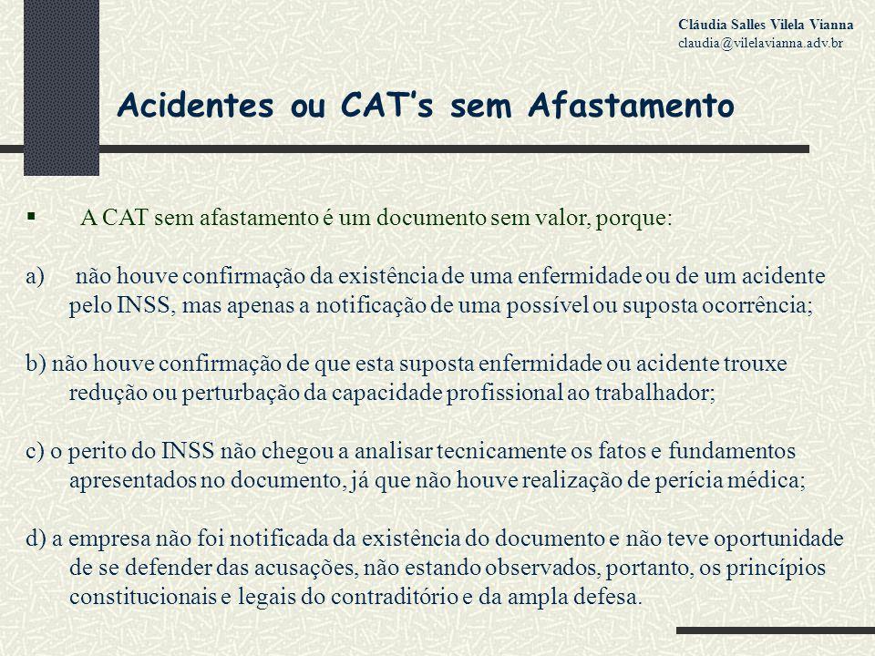 Acidentes ou CAT's sem Afastamento