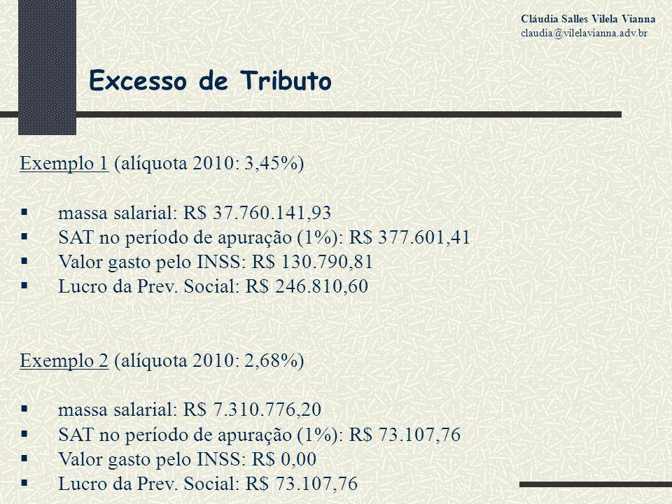 Excesso de Tributo Exemplo 1 (alíquota 2010: 3,45%)