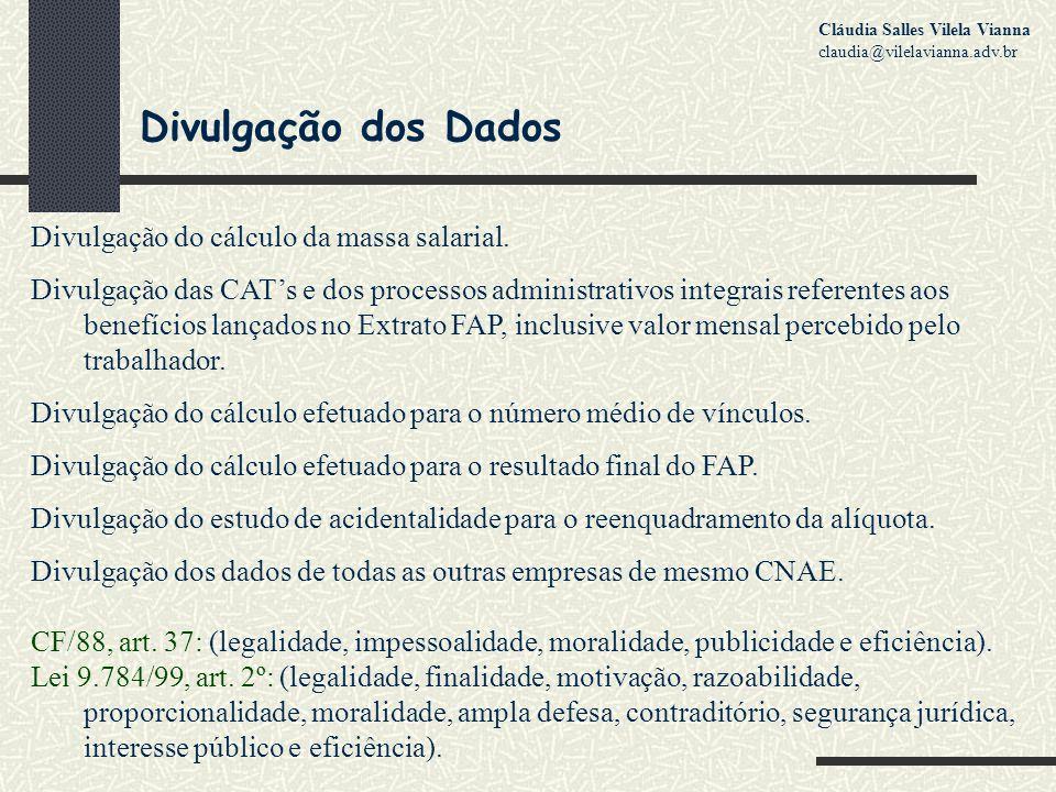 Divulgação dos Dados Divulgação do cálculo da massa salarial.
