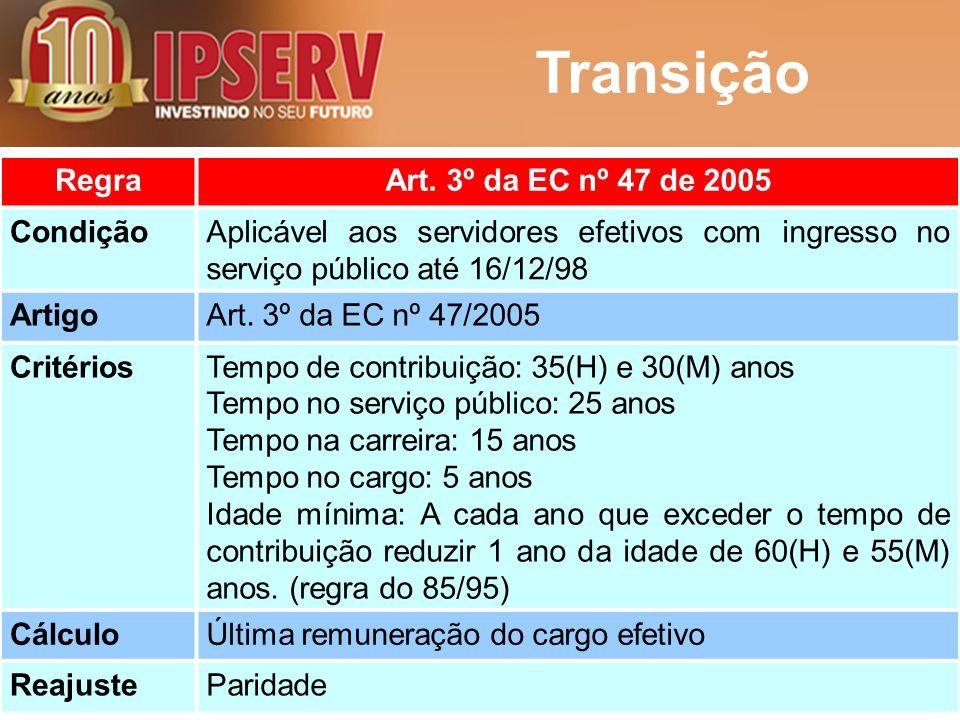 Transição Regra Art. 3º da EC nº 47 de 2005 Condição