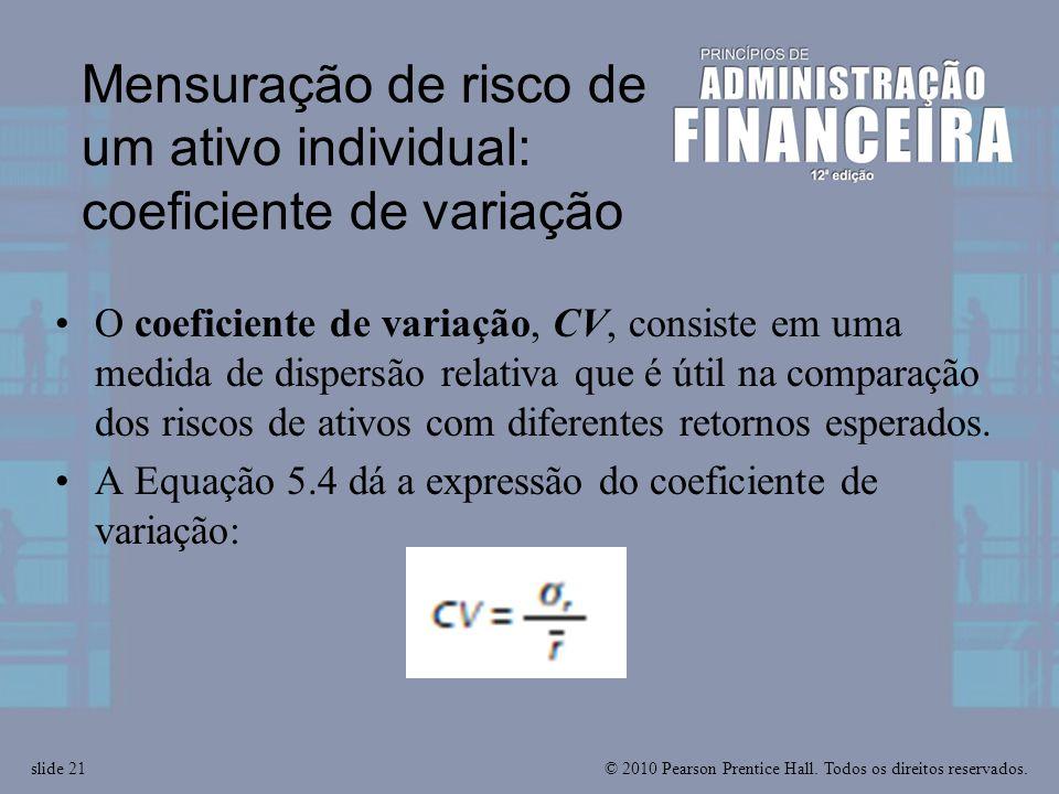 Mensuração de risco de um ativo individual: coeficiente de variação