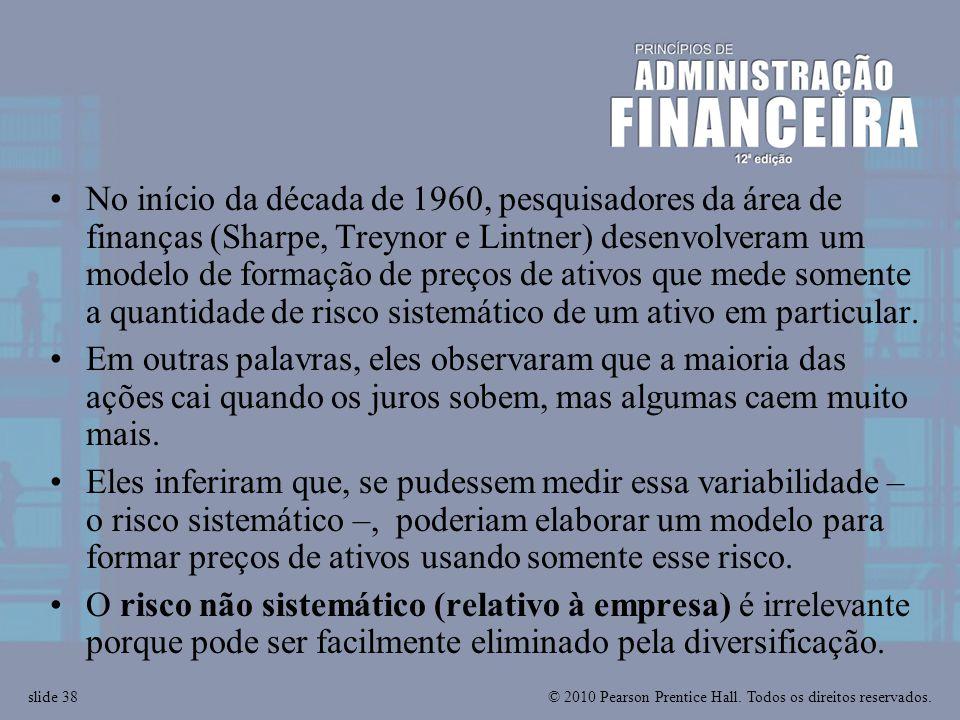 No início da década de 1960, pesquisadores da área de finanças (Sharpe, Treynor e Lintner) desenvolveram um modelo de formação de preços de ativos que mede somente a quantidade de risco sistemático de um ativo em particular.