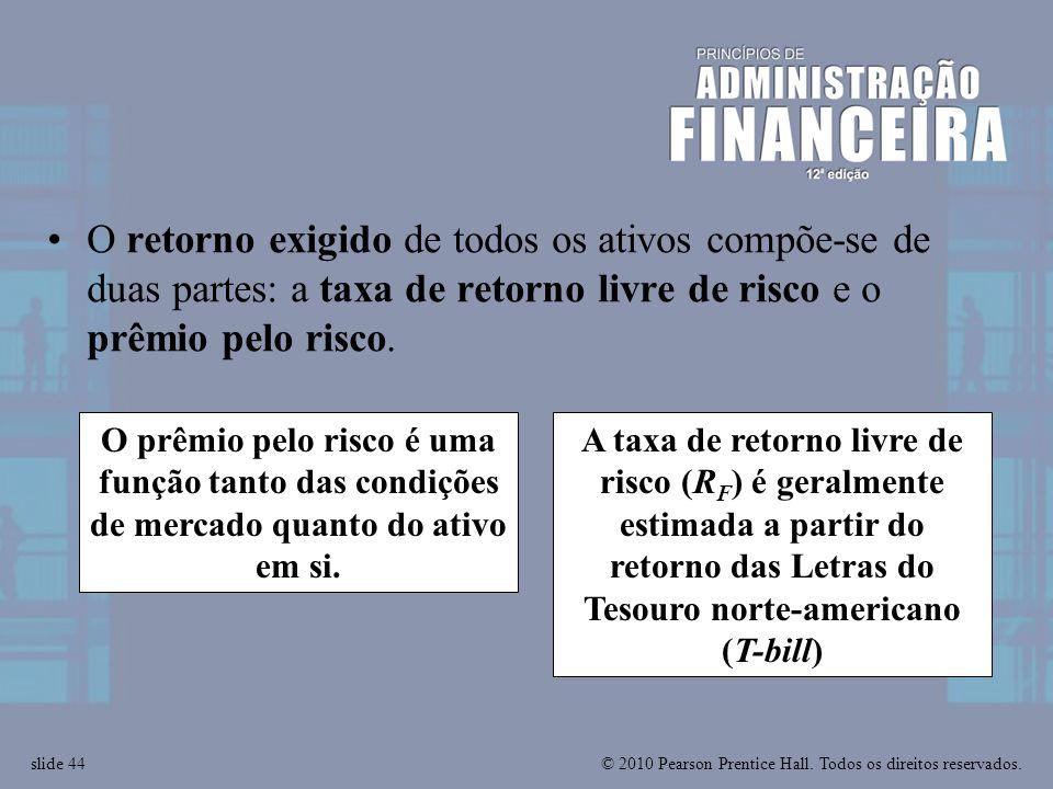 O retorno exigido de todos os ativos compõe-se de duas partes: a taxa de retorno livre de risco e o prêmio pelo risco.