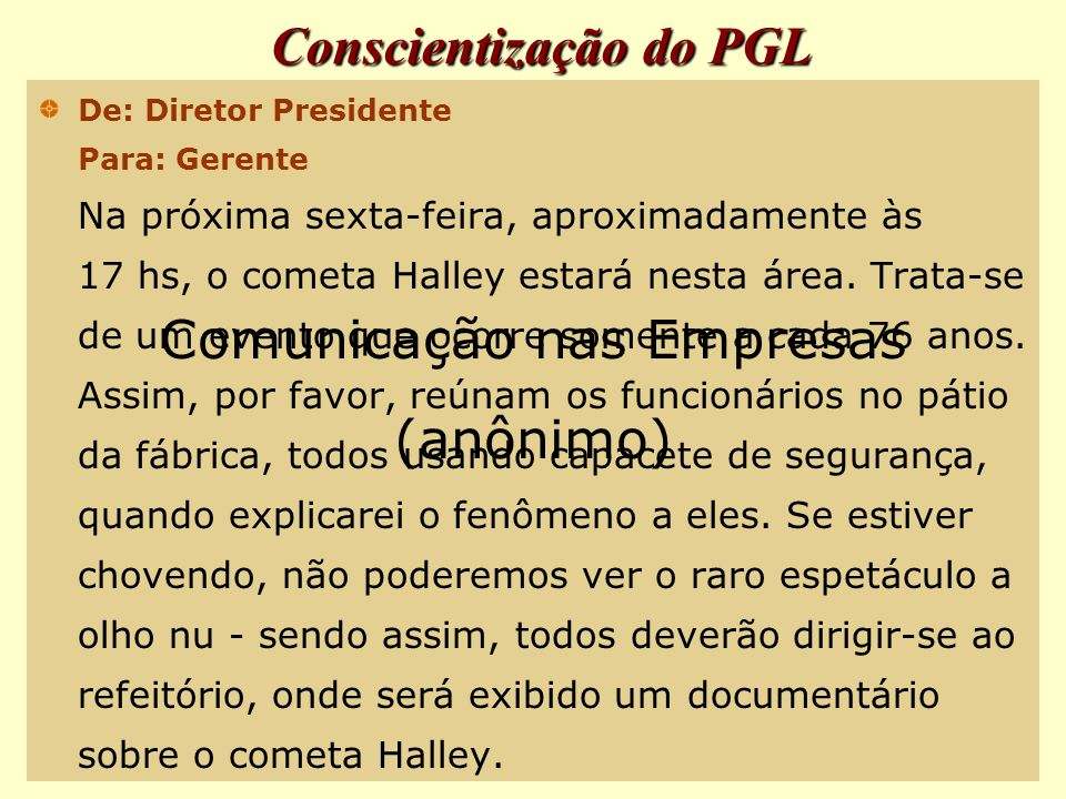 Conscientização do PGL