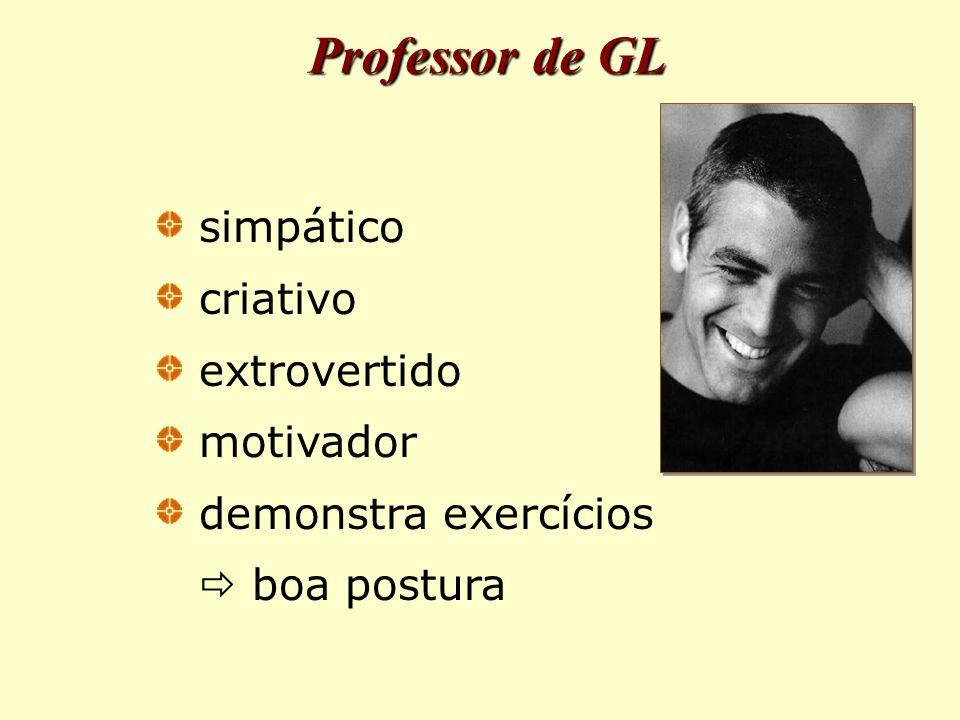Professor de GL simpático criativo extrovertido motivador