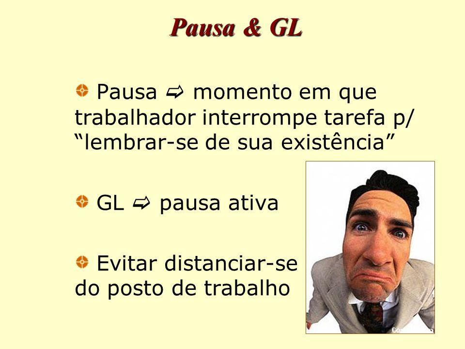 Pausa & GL Pausa  momento em que trabalhador interrompe tarefa p/ lembrar-se de sua existência GL  pausa ativa.
