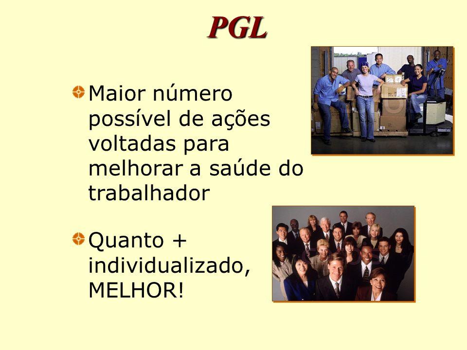 PGL Maior número possível de ações voltadas para melhorar a saúde do trabalhador.