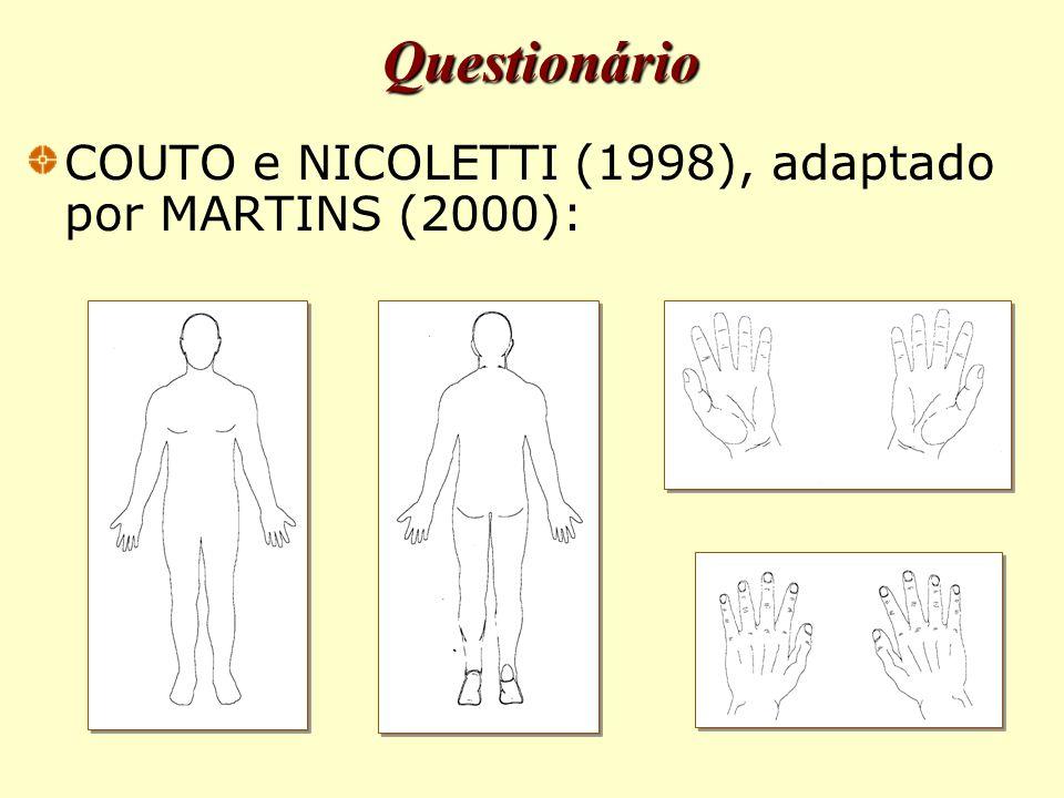 Questionário COUTO e NICOLETTI (1998), adaptado por MARTINS (2000):