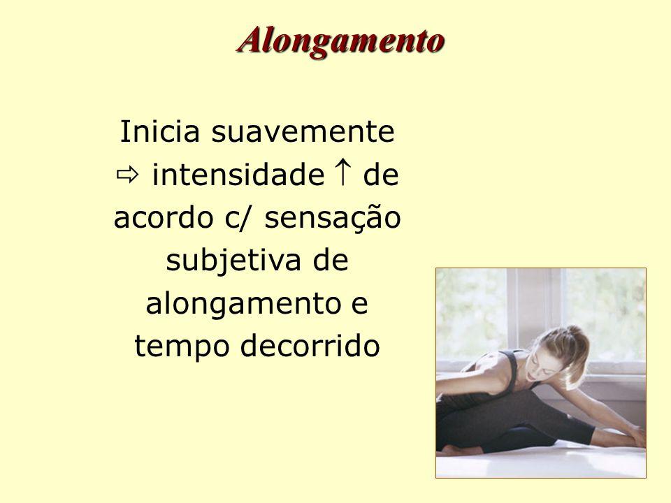 Alongamento Inicia suavemente  intensidade  de acordo c/ sensação subjetiva de alongamento e tempo decorrido.