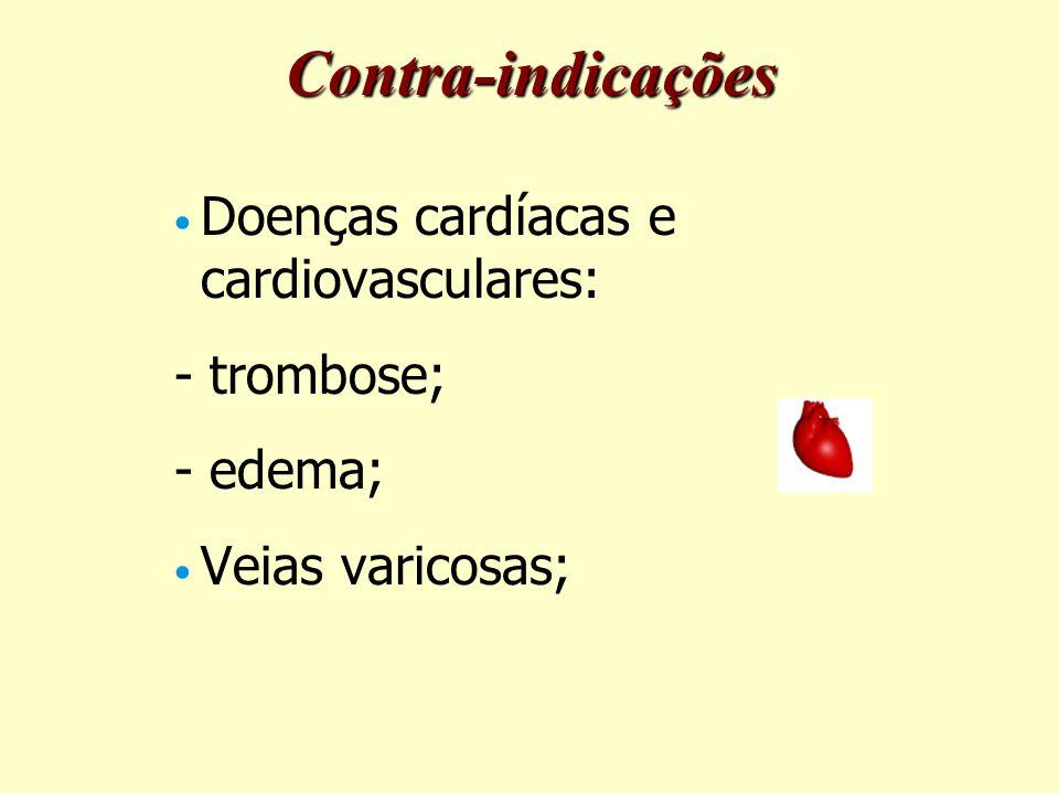 Contra-indicações Doenças cardíacas e cardiovasculares: - trombose;