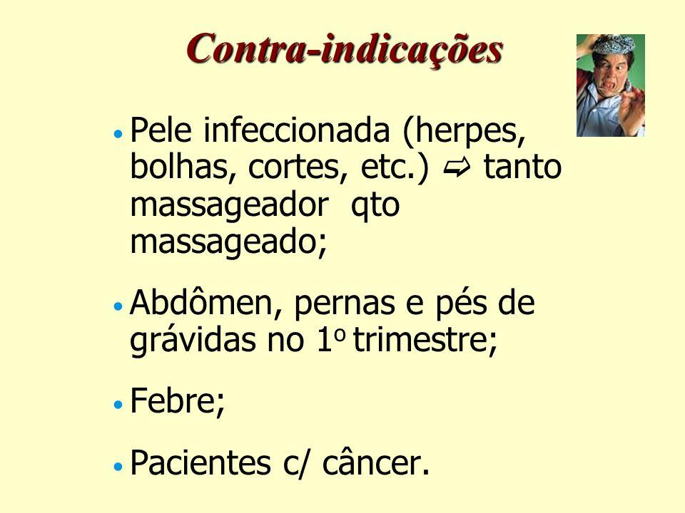 Contra-indicações Pele infeccionada (herpes, bolhas, cortes, etc.)  tanto massageador qto massageado;