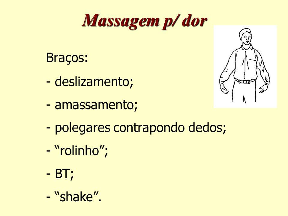 Massagem p/ dor Braços: - deslizamento; - amassamento;