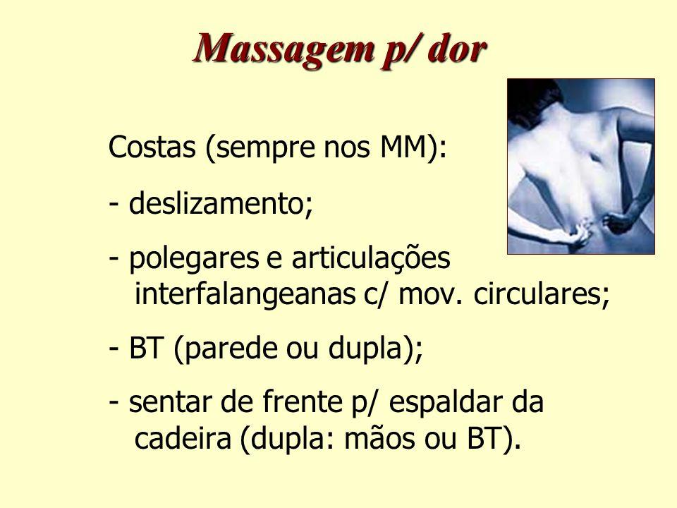 Massagem p/ dor Costas (sempre nos MM): - deslizamento;