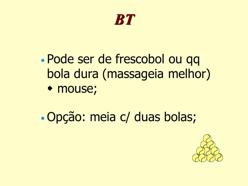 BT Pode ser de frescobol ou qq bola dura (massageia melhor)  mouse;