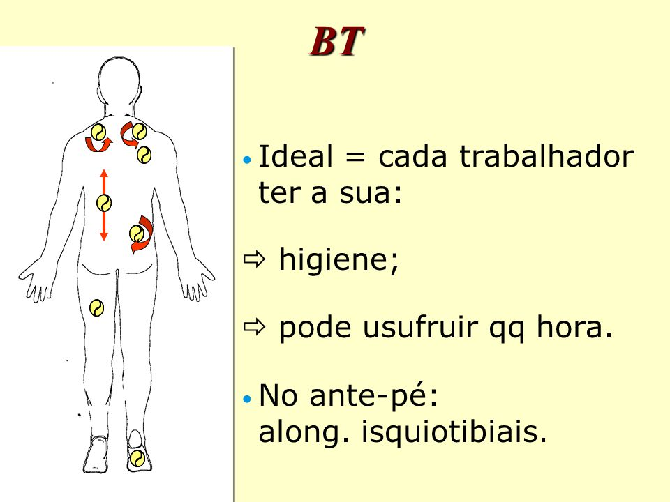 BT Ideal = cada trabalhador ter a sua:  higiene;