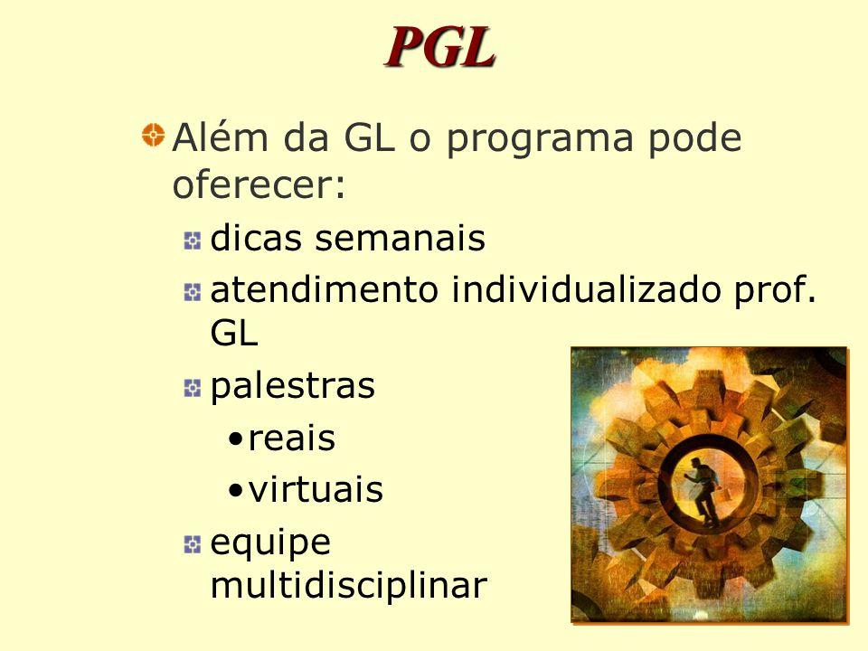 PGL Além da GL o programa pode oferecer: dicas semanais
