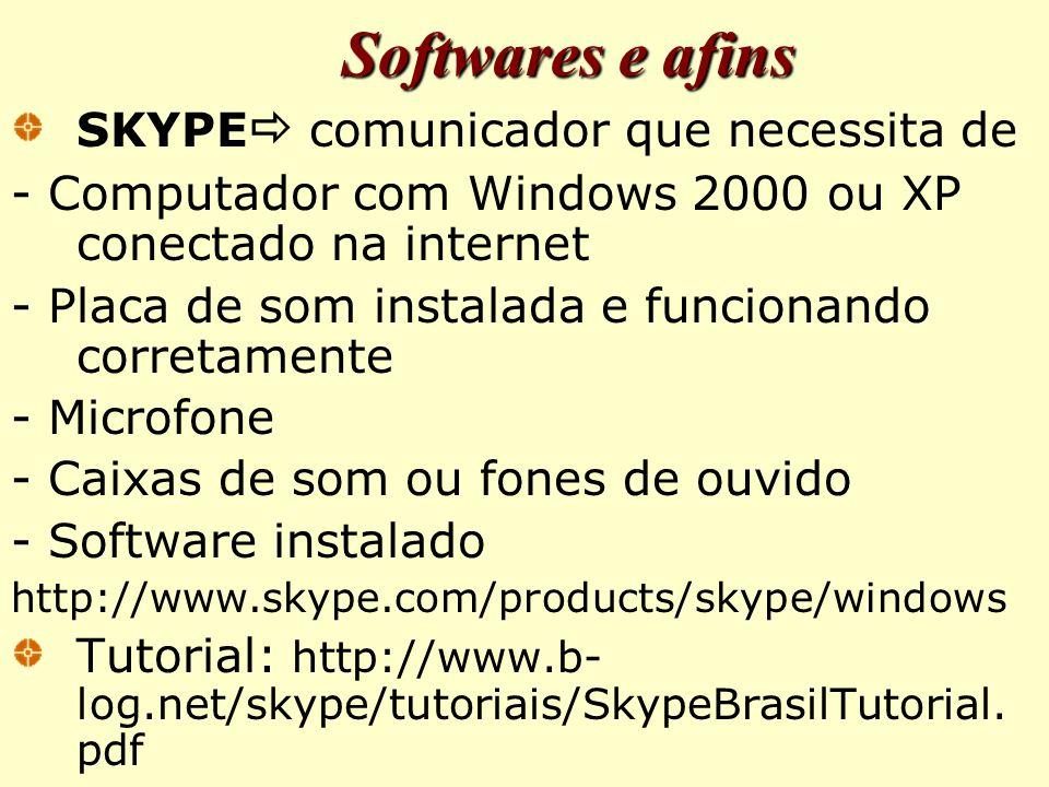 Softwares e afins SKYPE comunicador que necessita de