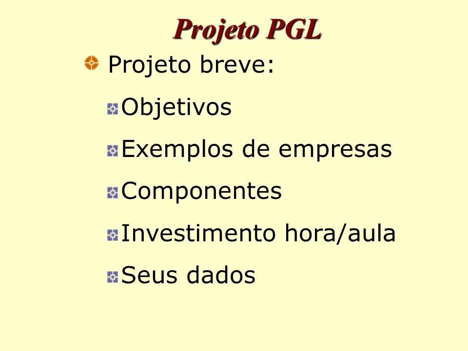Projeto PGL Projeto breve: Objetivos Exemplos de empresas Componentes