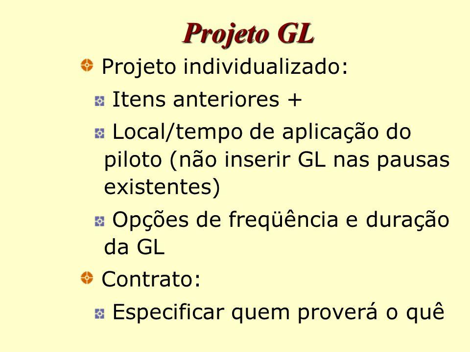 Projeto GL Projeto individualizado: Itens anteriores +