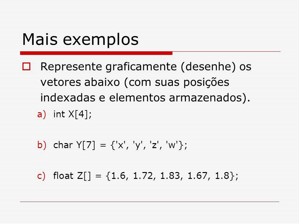 Mais exemplos Represente graficamente (desenhe) os vetores abaixo (com suas posições indexadas e elementos armazenados).