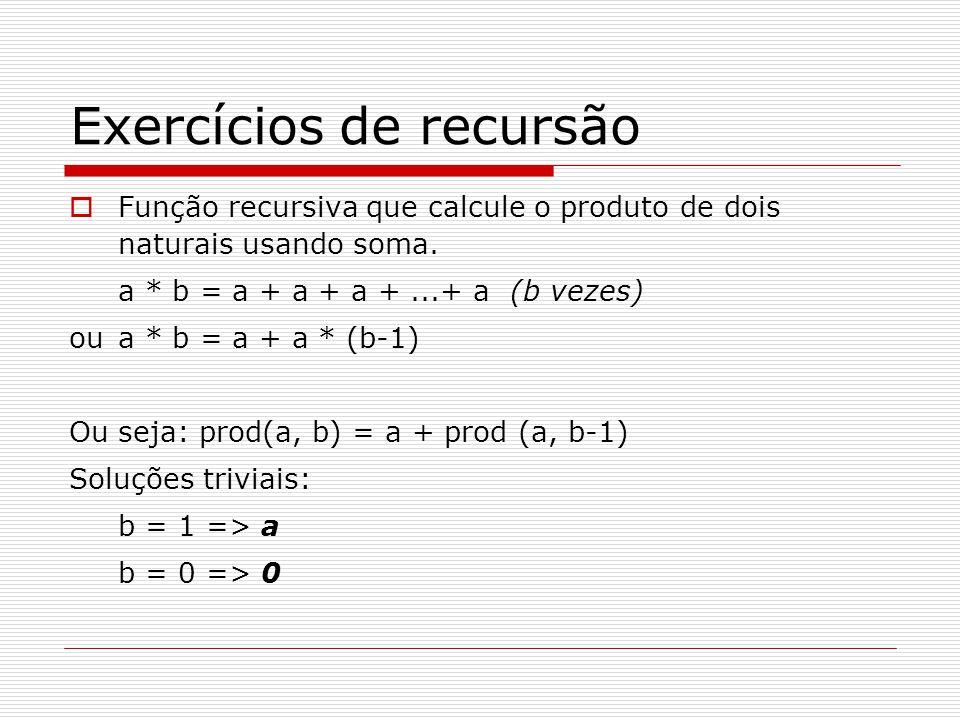 Exercícios de recursão