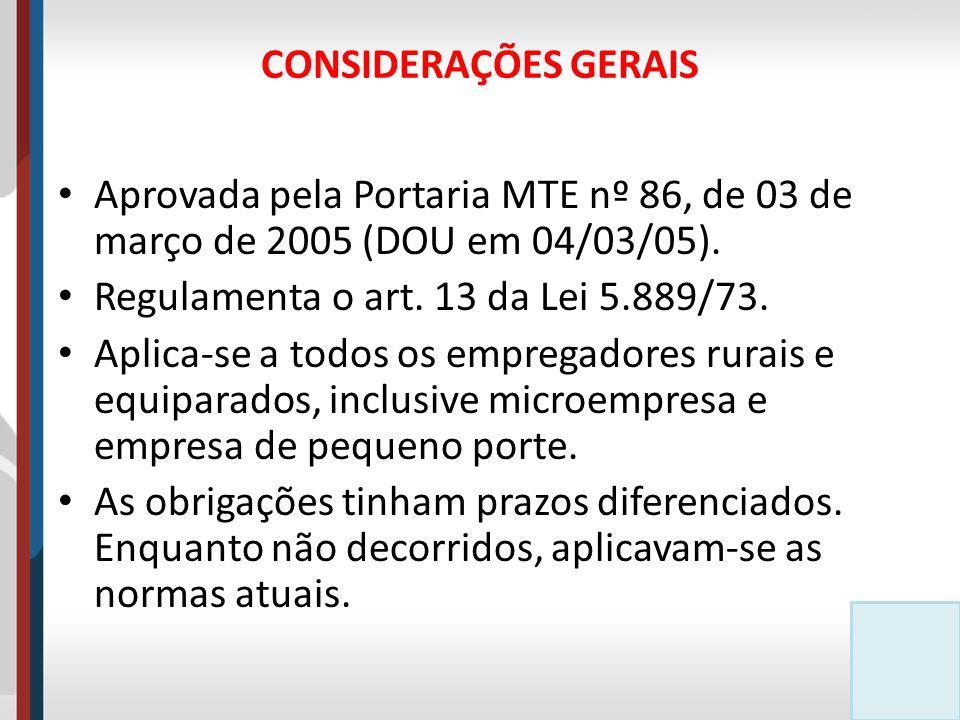 CONSIDERAÇÕES GERAIS Aprovada pela Portaria MTE nº 86, de 03 de março de 2005 (DOU em 04/03/05). Regulamenta o art. 13 da Lei 5.889/73.