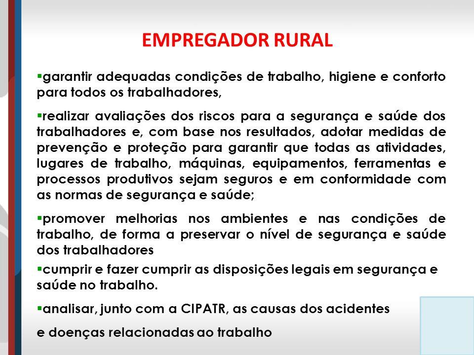EMPREGADOR RURAL garantir adequadas condições de trabalho, higiene e conforto para todos os trabalhadores,