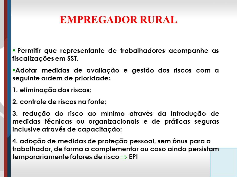 EMPREGADOR RURAL Permitir que representante de trabalhadores acompanhe as fiscalizações em SST.