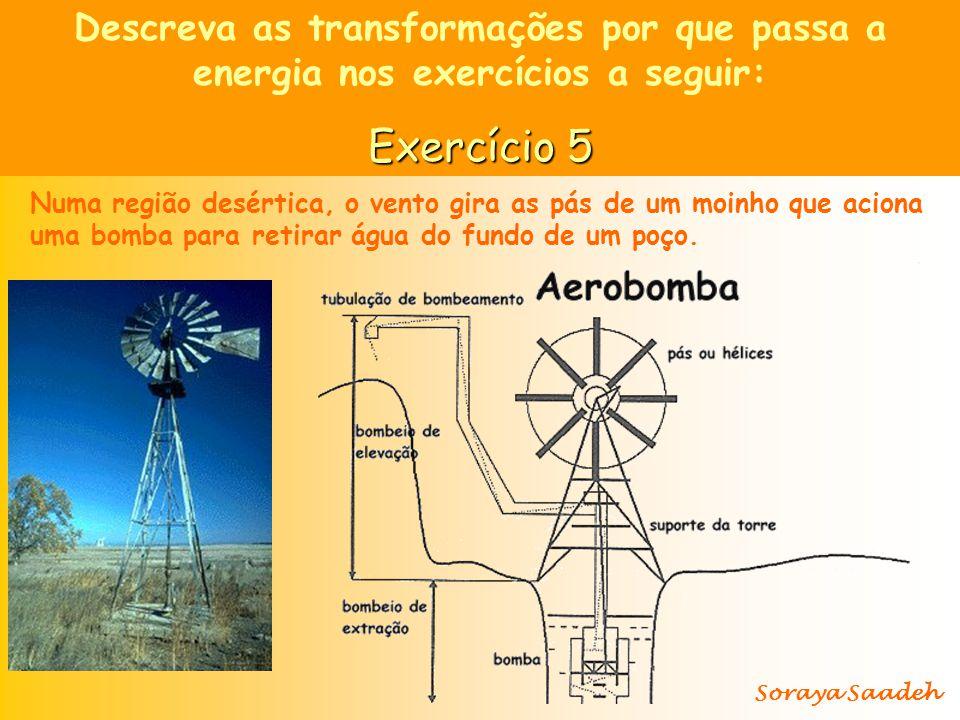Descreva as transformações por que passa a energia nos exercícios a seguir:
