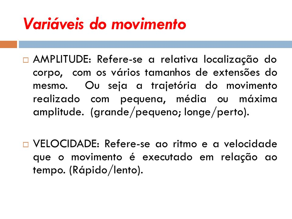 Variáveis do movimento