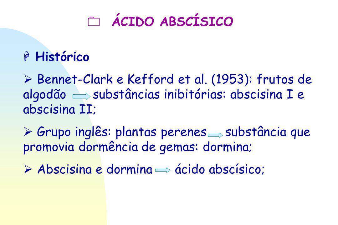  ÁCIDO ABSCÍSICO  Histórico.  Bennet-Clark e Kefford et al. (1953): frutos de algodão substâncias inibitórias: abscisina I e abscisina II;