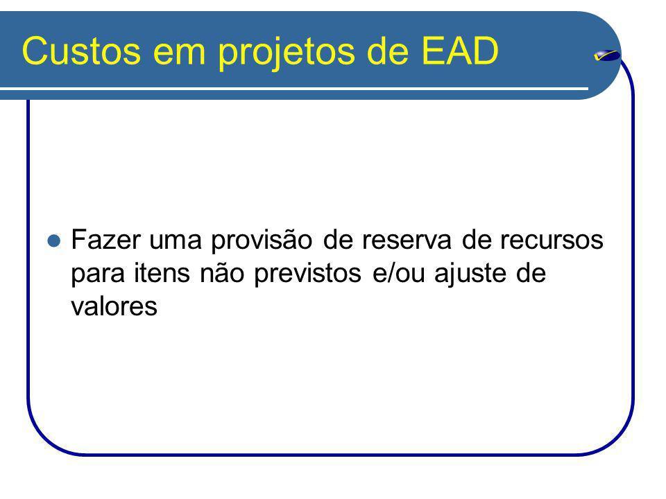 Custos em projetos de EAD