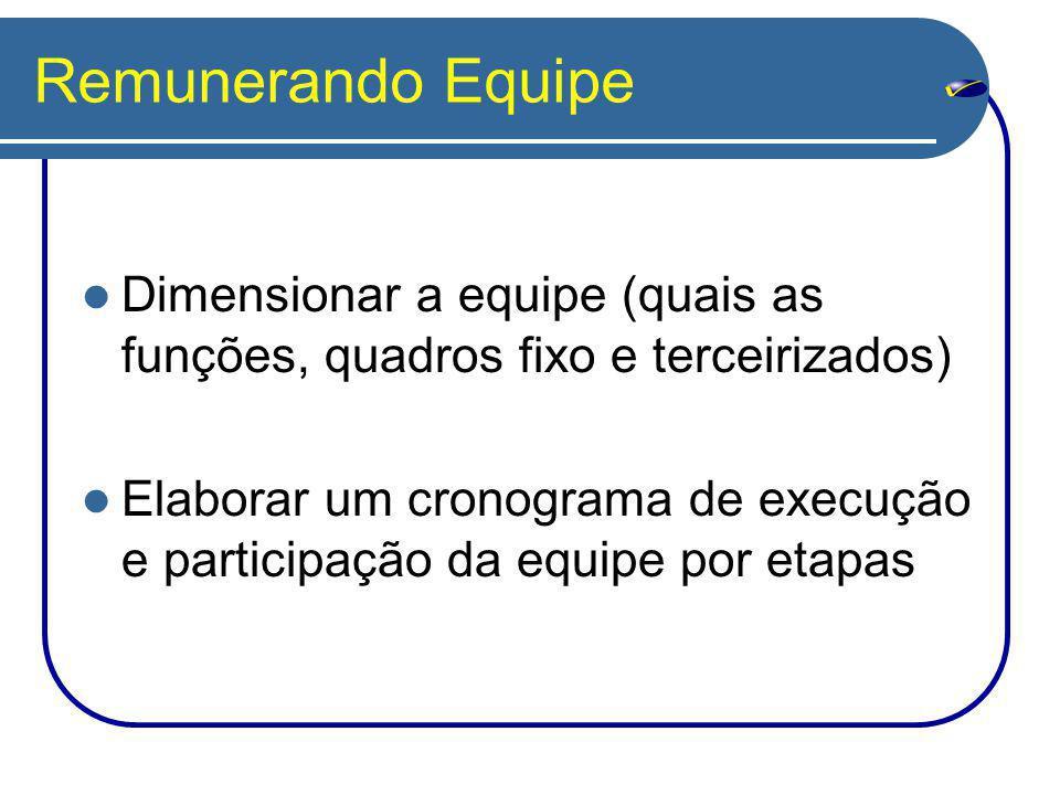 Remunerando Equipe Dimensionar a equipe (quais as funções, quadros fixo e terceirizados)