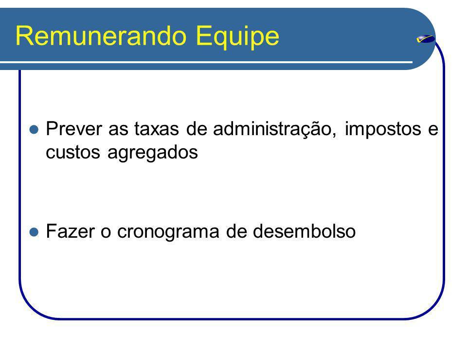 Remunerando Equipe Prever as taxas de administração, impostos e custos agregados.